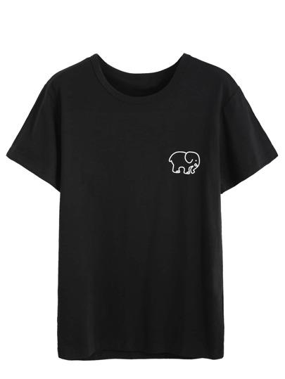 Black Elephant Print Front T-shirt