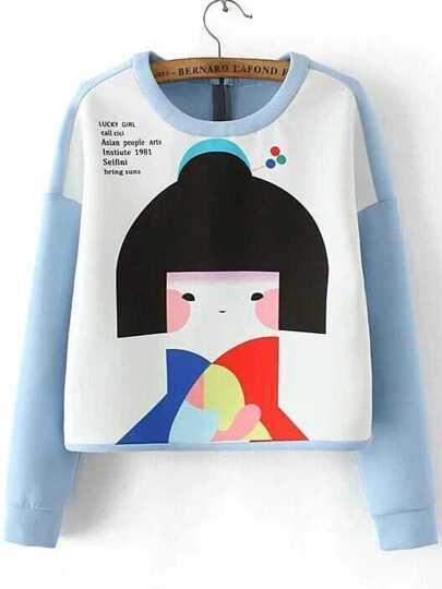 Blue Color Block Girl Print Sweatshirt
