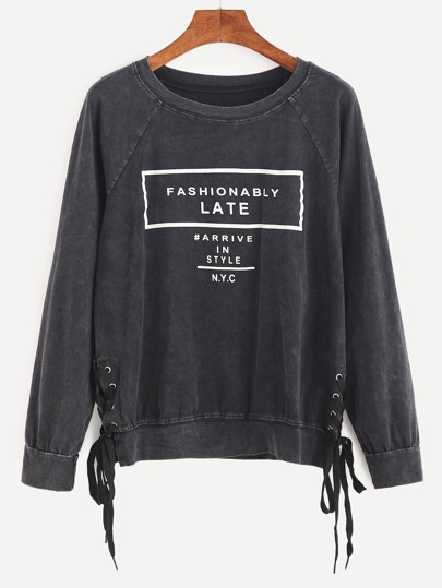 Letter Print Raglan Sleeve Lace Up Side Sweatshirt