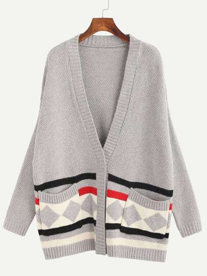 Grey Geometric Print Pockets Sweater Coat