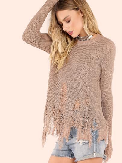 Distressed Waffle Knit Lightweight Sweater MOCHA