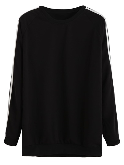Black Raglan Sleeve Contrast Striped Trim Sweatshirt