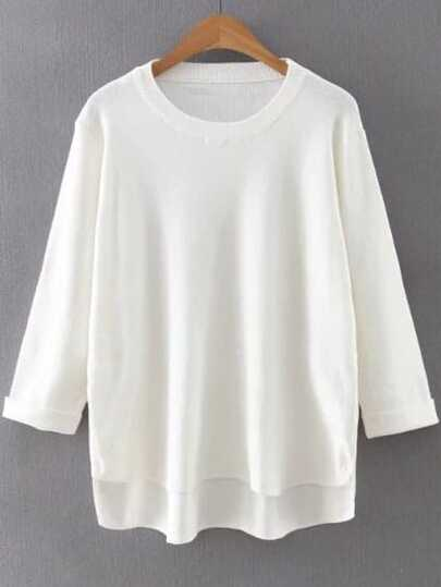 White Round Neck Rolled Cuff Dip Hem Sweater