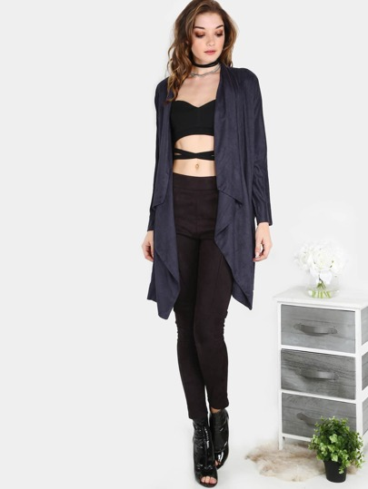 Suede Waterfall Lapel Coat NAVY