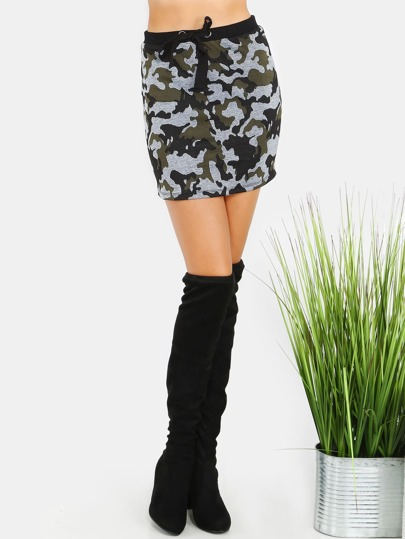 Waist Tie Camo Jersey Skirt CAMOUFLAGE