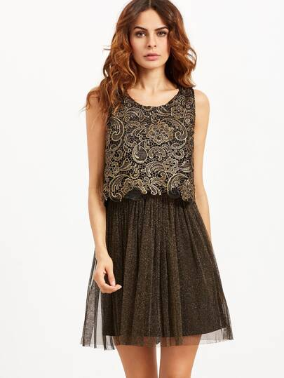 Black Embroidered Lace Top Combo Sparkle Dress