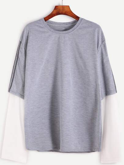 Light Grey Tape Trim 2 In 1 T-shirt