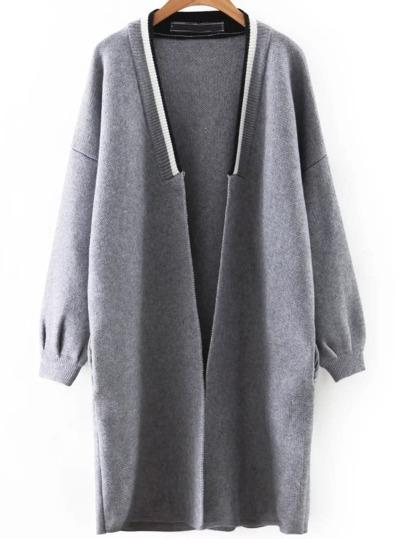 Grey Contrast Trim Drop Shoulder Sweater Coat