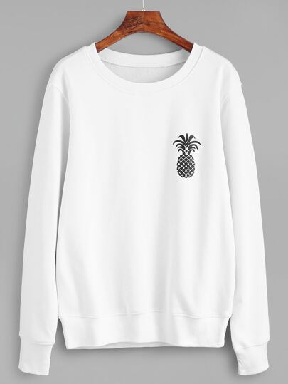 White Pineapple Print Sweatshirt