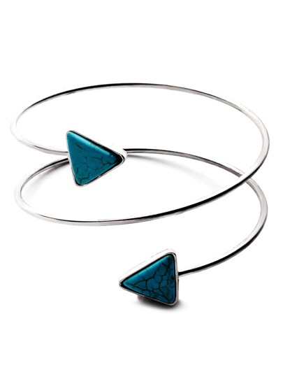 Silver Plated Turquoise Arrow Spiral Arm Cuff