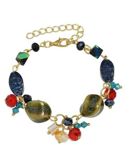 Bracciale Regolabile Con Catena Perline - Multicolore