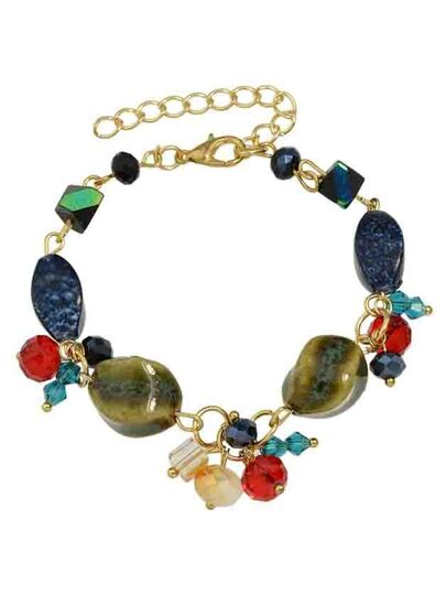 New Coming Adjustable Colorful Stone Beads Chain Bracelet
