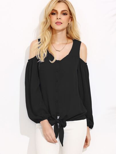Black Open Shoulder Lantern Sleeve Tie Front Blouse