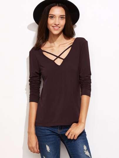 Brown Crisscross V Neck T-shirt