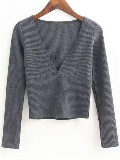 Grey Deep V Neck Crop Knitwear
