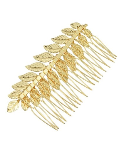 Gold Plated Leaf Shape Hair Comb
