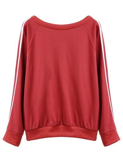 Rust Raglan Sleeve Striped Trim Sweatshirt