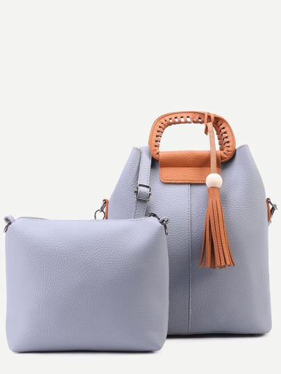 Grey Faux Leather Tassel Trim Shoulder Bag Set