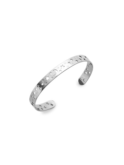 Silver Plated Hollow Moon Star Wrap Bangle