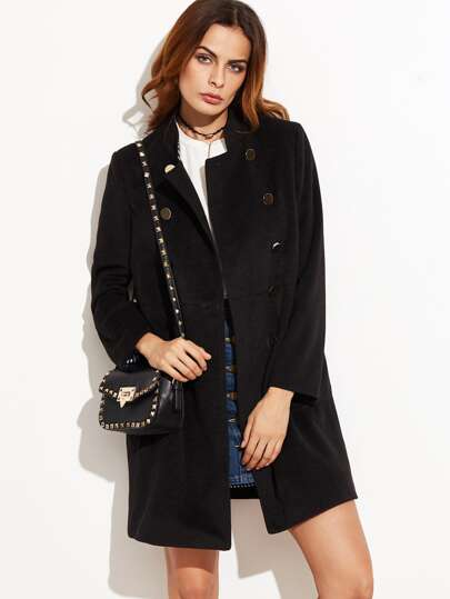 Black Stand Collar Double Breasted Coat