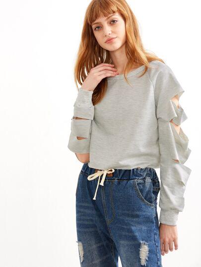 Grey Cut Out Sleeve Crop Sweatshirt