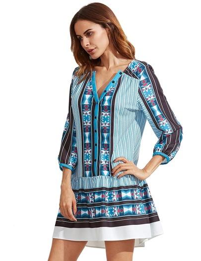 Blau V-Ausschnitt Vintage Print Tunika Kleid