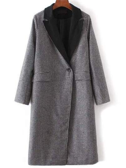 Black Houndstooth Single Button Trench Coat With Pockets