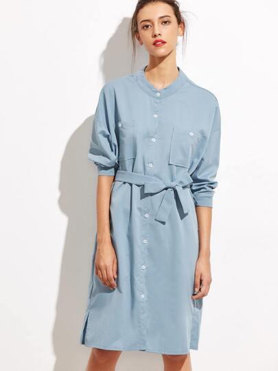 Blue Self Tie Button Front Shirt Dress