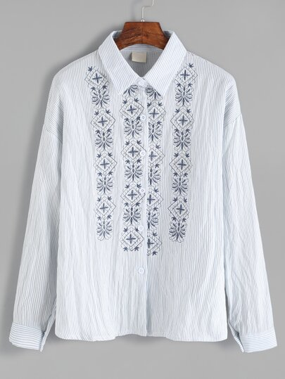 Blue Vertical Striped Embroidered Shirt