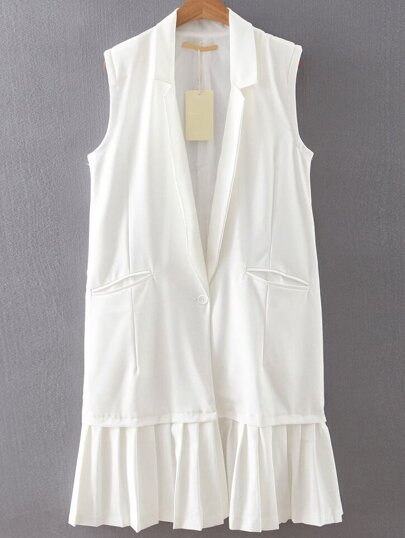White Single Button Pleated Hem Vest