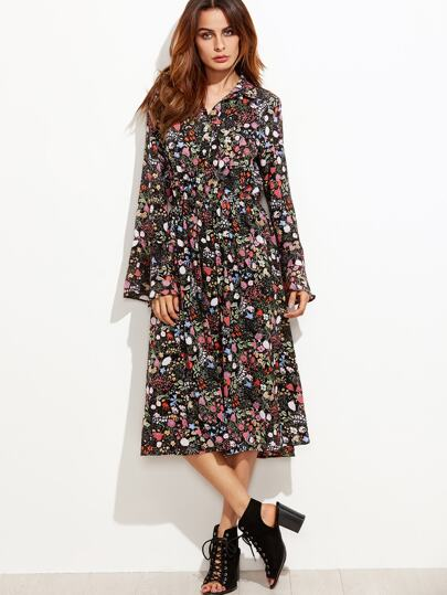 Floral Print Bell Sleeve Shirt Chiffon Dress