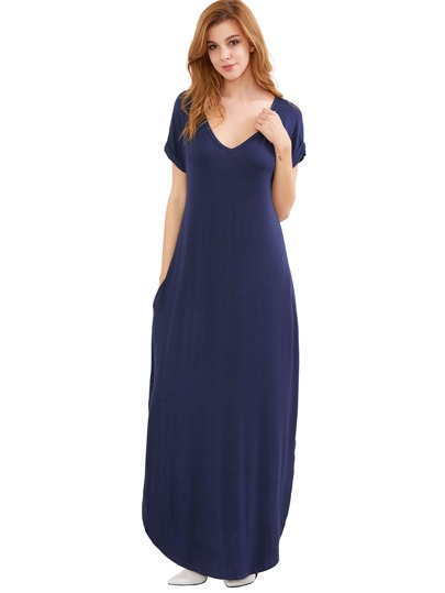 Royal Blue Rolled-cuff Pockets Split Maxi Dress