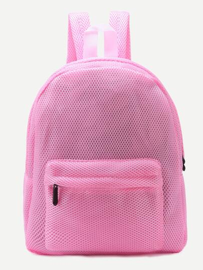 Pink Front Zipper Nylon Mesh Backpack