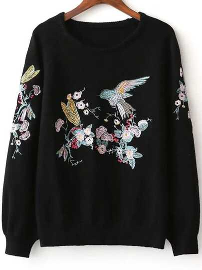 Black Bird Embroidery Raglan Sleeve Sweater