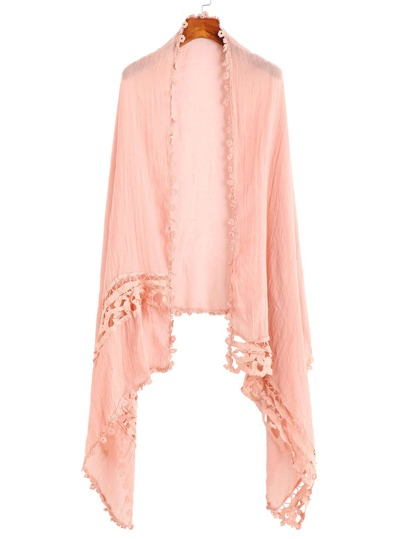 Pink Applique Hollow Out Scarf