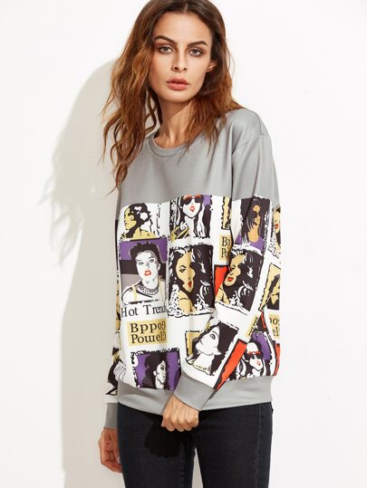 Grey Portrait Comic Print Drop Shoulder Sweatshirt
