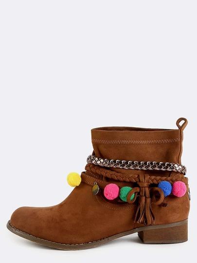 Suede Braided Pom Pom Boots CAMEL