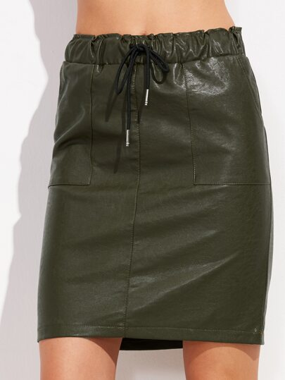 Dark Green Drawstring Faux Leather Skirt
