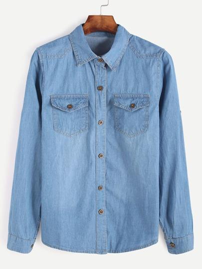 Pale Blue Denim Shirt With Pockets