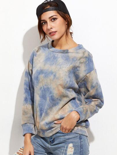 Blue Tie Dye Print Drop Shoulder Sweatshirt