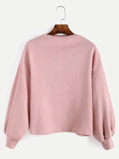 Pink Ribbed Lantern Sleeve Sweater