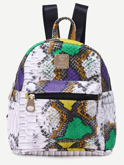 Multicolor PU Snake Print Backpack