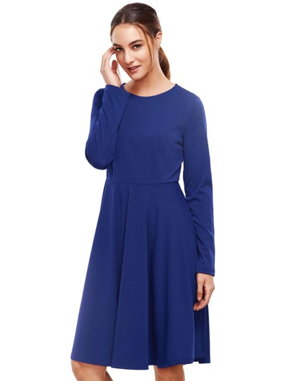 Royal Blue Pleated Long Sleeve A-Line Dress