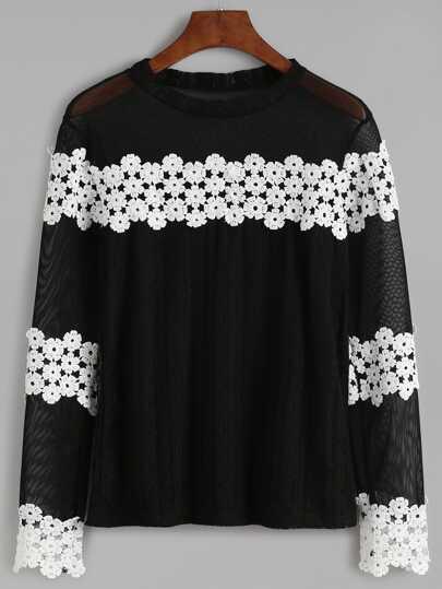 Black Contrast Appliques Crochet Sheer Blouse