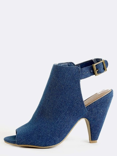 Denim Slingback Cone Heels BLUE DENIM