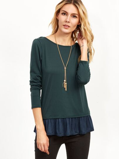 Dark Green Contrast Lace Up Back Ruffle T-shirt