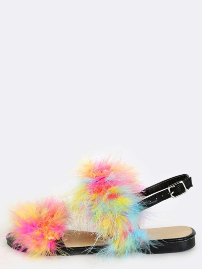 Multicolor Feather Ankle Strap Sandals MULTI