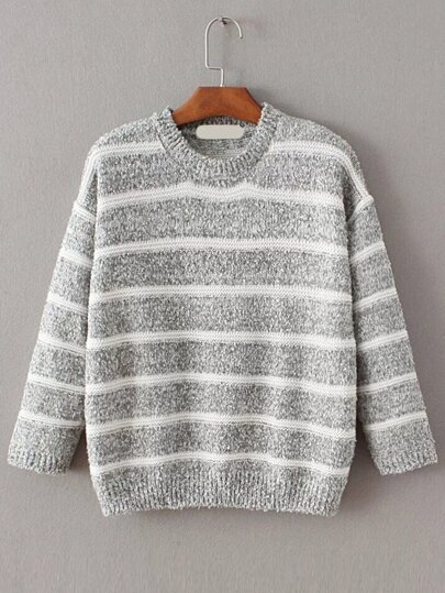 Grey Contrast Striped Crew Neck Sweater