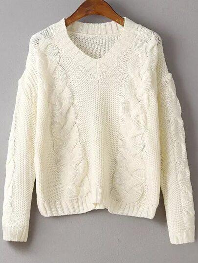 Beige Cable Knit V Neck Drop Shoulder Sweater