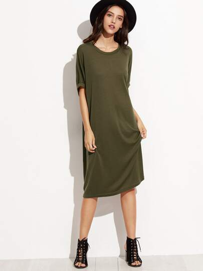 Olive Green Shift Dress With Side Pocket